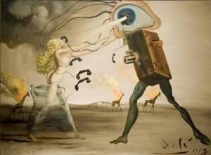 Burning Giraffe and Telephone, lukisan Salvador Dali. Gambar diambil dari weheartit.com.